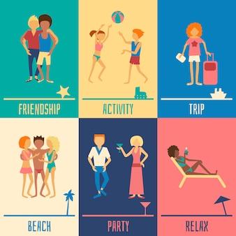Ensemble de personnes de vacances