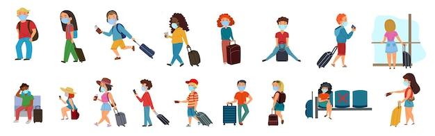 Un ensemble de personnes avec une valise. hommes et femmes portant des masques médicaux avec bagages. voyager pendant l'épidémie et le covid-19. illustration vectorielle dans un style plat sur un calque isolé blanc