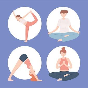 Ensemble de personnes yogis