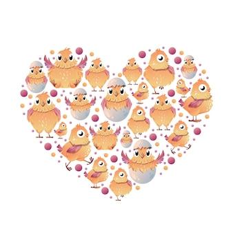 Ensemble de petit caplet en forme de coeur.