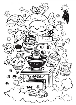 Ensemble de petit déjeuner drôle. personnages de bande dessinée. illustration vectorielle