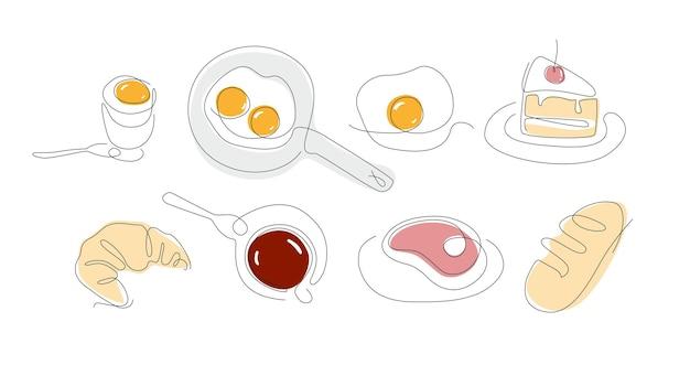 Ensemble de petit-déjeuner à une ligne nourriture en ligne continue oeufs et côté ensoleillé dessin au trait croissant