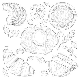 Ensemble de petit-déjeuner. oeufs au plat avec légumes et café. livre de coloriage antistress pour enfants et adultes