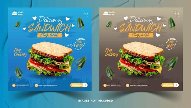 Ensemble de petit-déjeuner sandwich modèle de médias sociaux instafram et publication facebook