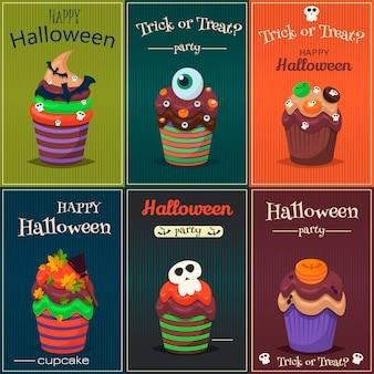 Ensemble de petit gâteau. affiche de halloween bonbons effrayants.