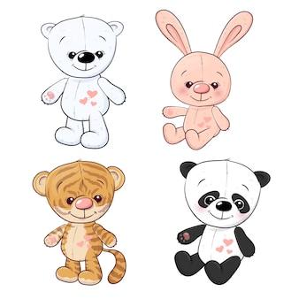 Ensemble de petit tigre, petit tigre et panda. dessin à main levée. illustration vectorielle