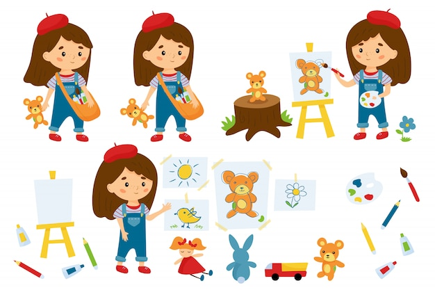 Ensemble de petite artiste fille. personnage de dessin animé mignon.