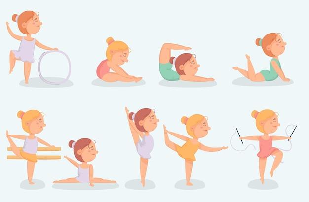 Ensemble de petite ballerine faisant de l & # 39; exercice
