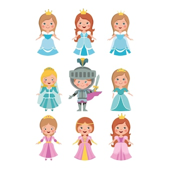 Ensemble de petite poupée princesse coupée et chevalier