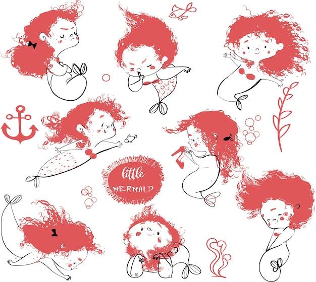 Ensemble de petite sirène de dessin animé mignon