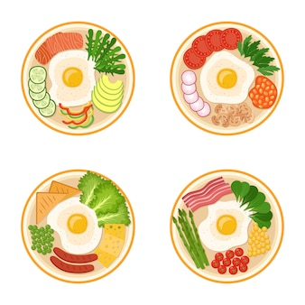 Ensemble de petits déjeuners avec œufs au plat, légumes verts, légumes, bacon, saucisses, saumon, fromage, haricots, illustration vectorielle