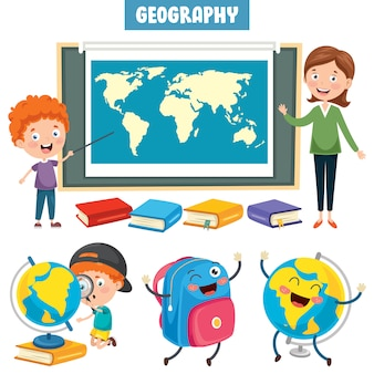 Ensemble de petits étudiants étudiant la géographie
