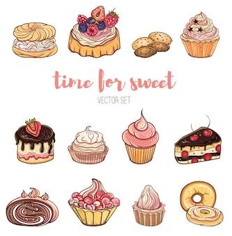 Ensemble de petits fruits, gâteaux au chocolat à la crème