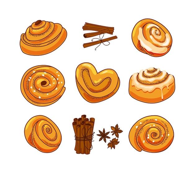 Un ensemble de petits pains à la cannelle et au sucre glace dans une illustration de style dessin animé.