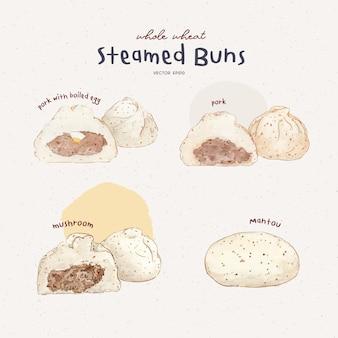 Ensemble de petits pains cuits à la vapeur, vecteur de tirage à la main.