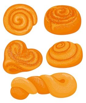 Ensemble de petits pains et petits pains à la cannelle un ensemble de petits pains tourbillonnants illustration dessinée à la main