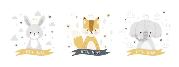 Ensemble de petits personnages de renard et lapin éléphant de bande dessinée