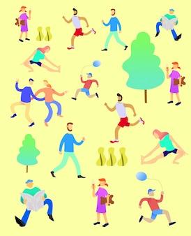 Ensemble de peuples faisant des activités dans le parc