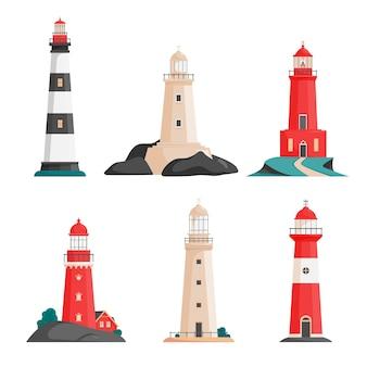 Ensemble de phares isolés sur les îles dans un style plat
