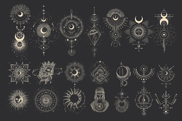Ensemble de phases de lune. différentes étapes de l'activité au clair de lune dans le style de gravure vintage.