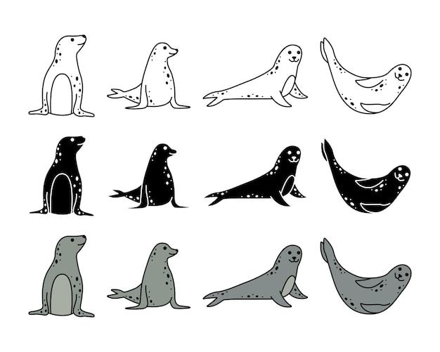 Ensemble de phoques de mer. animaux marins. dessin au trait et style simple