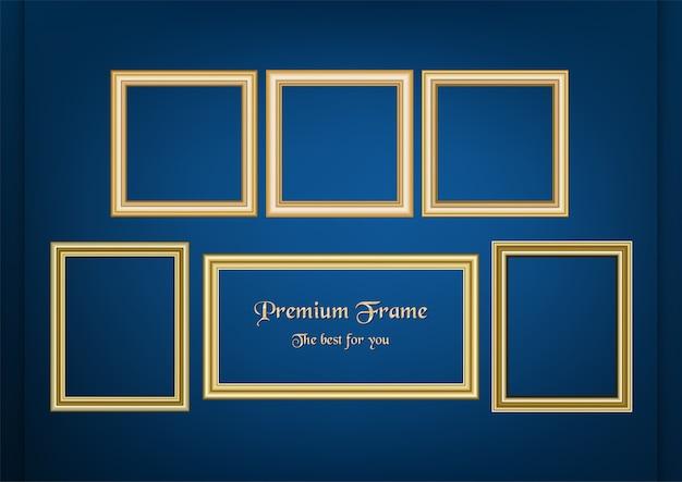Ensemble de photo de cadre décoratif avec bordure en or dans le concept premium.
