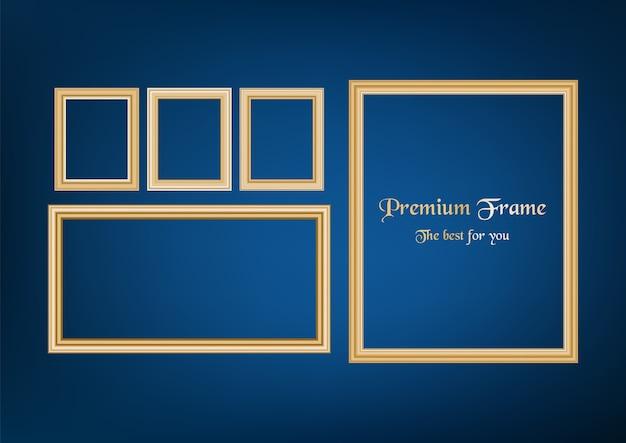 Ensemble de photo de cadre décoratif avec bordure en or