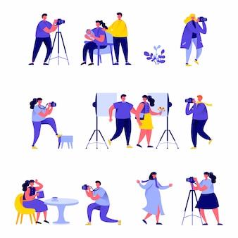 Ensemble de photographes de gens plats prennent différents personnages de photos