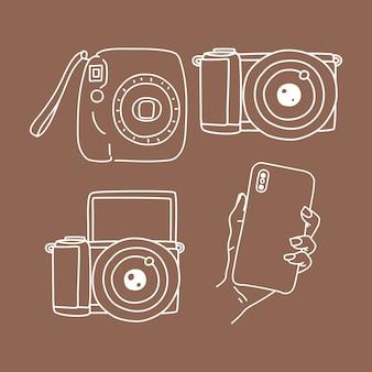 Ensemble de photographie d'appareil photo, appareil photo instantané, téléphone et illustration d'éléments doodle sans miroir