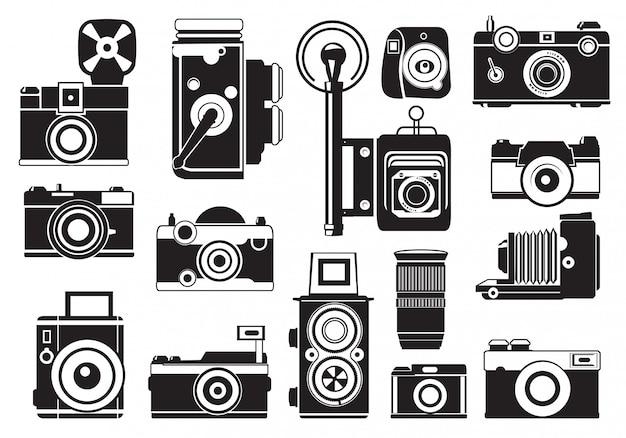Ensemble de photos de caméras rétro.