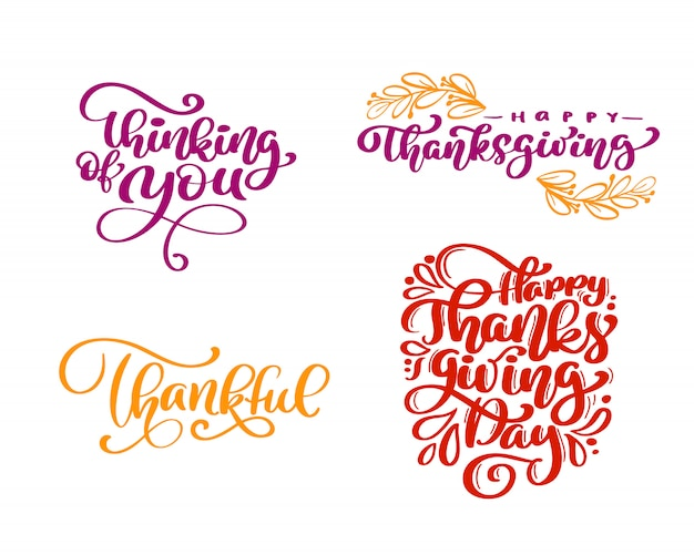 Ensemble de phrases de calligraphie happy thanksgiving day