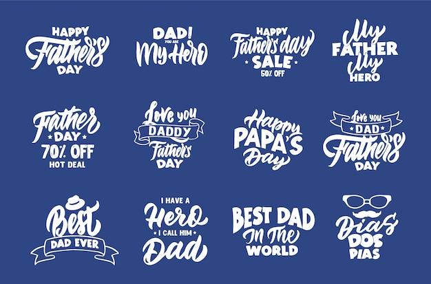Ensemble de phrases de fête des pères heureux vintage. emblèmes, badges, modèles, autocollants