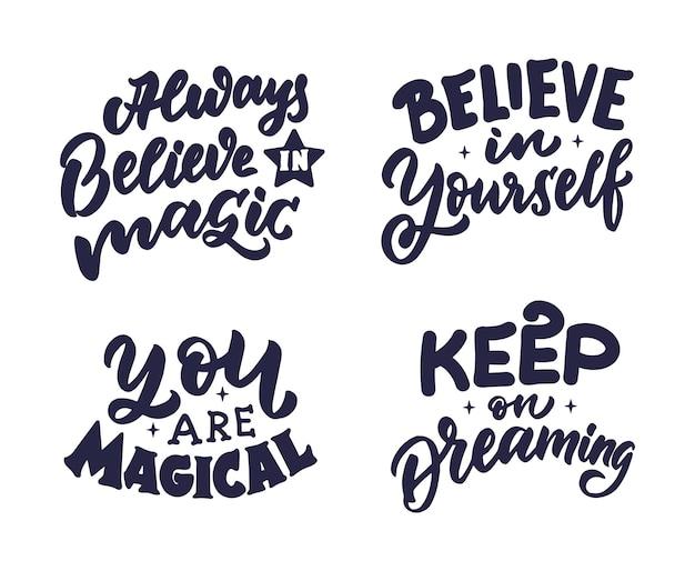 L'ensemble de phrases sur les filles magiques la collection de citations magiques est bonne pour la journée des filles