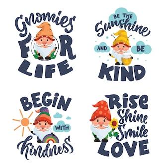 L'ensemble de phrases de lettrage avec des gnomes la collection est bonne pour les dessins de bébé