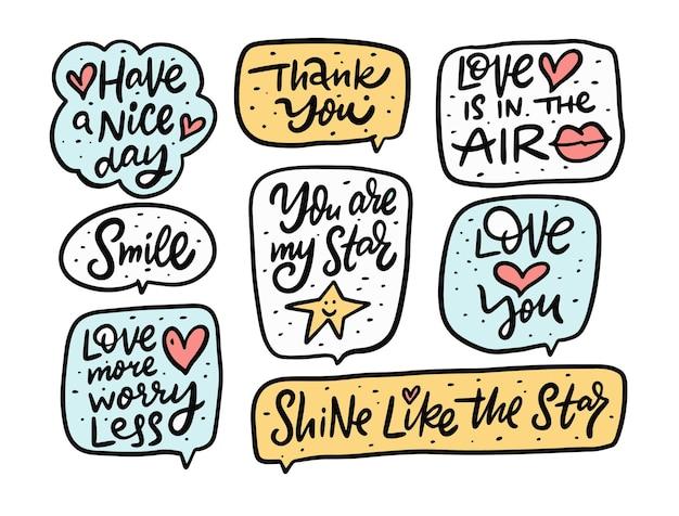 Ensemble de phrases de motivation doodle mignon