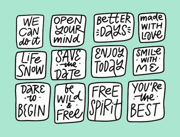 Ensemble de phrases les plus populaires. texte de lettrage de couleur noire dessiné à la main. illustration vectorielle.