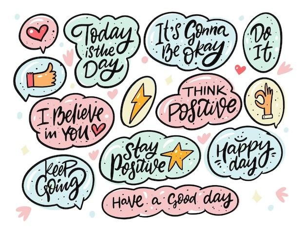 Ensemble de phrases positives de griffonnages