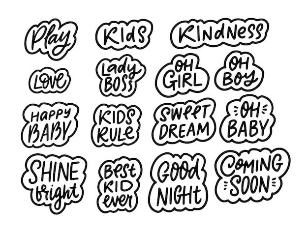 Ensemble de phrases pour enfants lettrage de couleur noire illustration vectorielle de calligraphie dessinée à la main