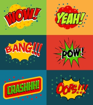 Ensemble de phrases de style bande dessinée sur fond coloré. ensemble de phrases de style pop art. hou la la! oups! whop! élément pour affiche, flyer.