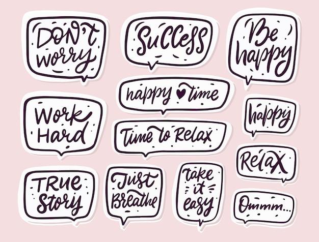 Ensemble de phrases de travail de motivation dessinés à la main