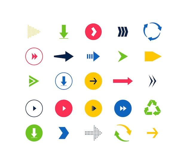 Ensemble de pictogrammes de flèches différentes