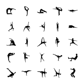 Ensemble de pictogrammes solides de yoga
