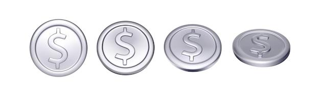 Ensemble de pièce d'argent avec le symbole du dollar. argent métallique de rotation. illustration vectorielle