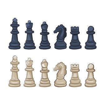 Ensemble de pièces d'échecs. illustration