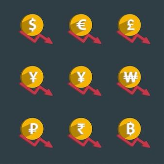 Ensemble de pièces et graphique de finances