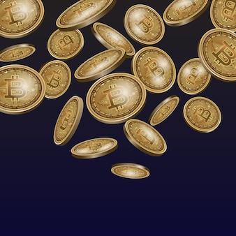Ensemble de pièces de monnaie de crypto-monnaie numérique bitcoin or.