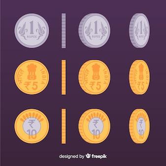 Ensemble de pièces de monnaie en roupie indienne
