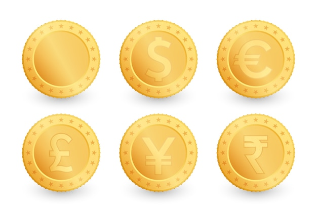 Ensemble de pièces d'or. dollar, euro, yen, livre, roupie sterling.