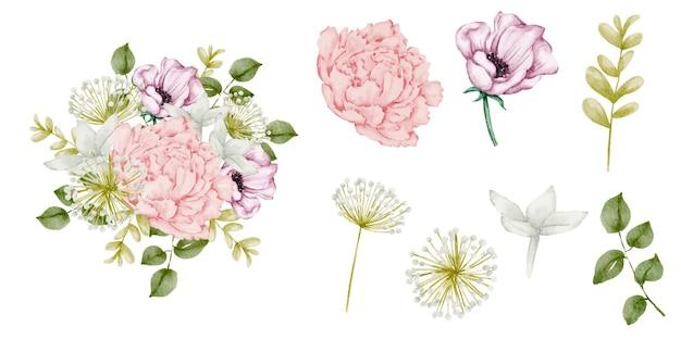 Ensemble de pièces séparées dans un style aquarelle sur blanc