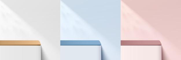 Ensemble de piédestal d'angle rond bleu rose blanc 3d abstrait ou podium de stand avec ombre